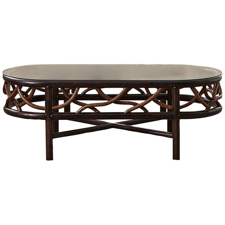 "Panama Jack Trinidad 45""W Black and Tan Rattan Coffee Table"