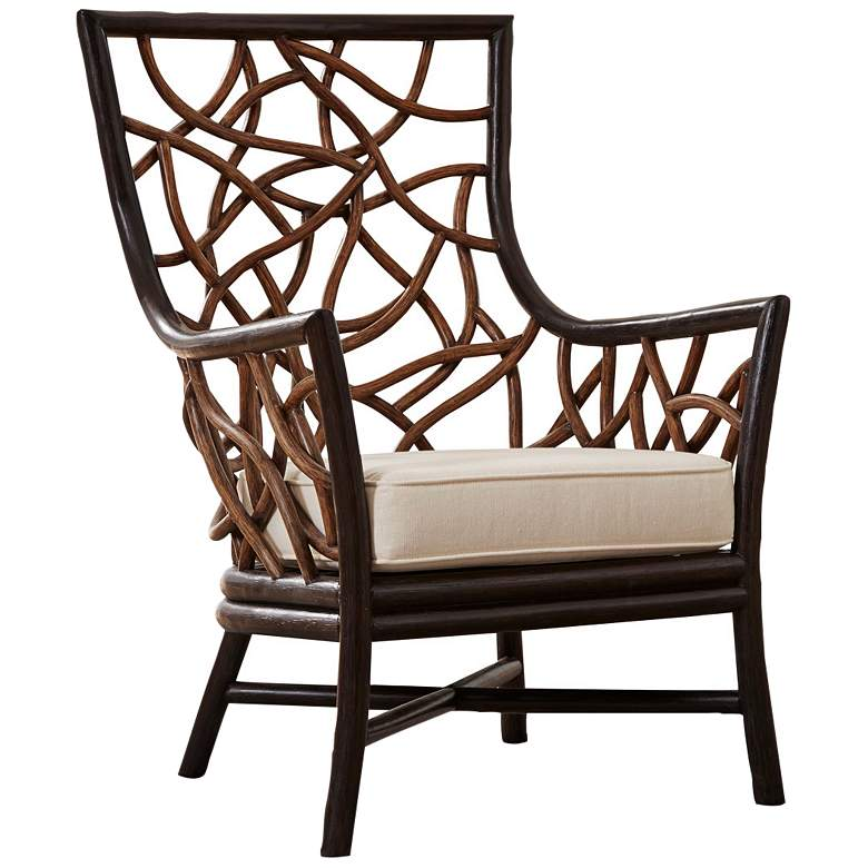 Panama Jack Trinidad Black and Tan Rattan Occasional Chair