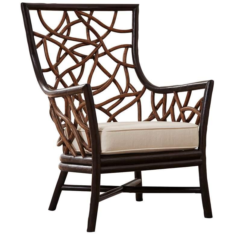 Panama Jack Trinidad Black and Tan Rattan Occasional Chair