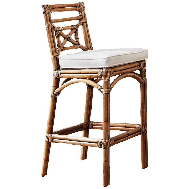 "Plantation Bay 31"" Honey Cushioned Rattan Bar Stool"