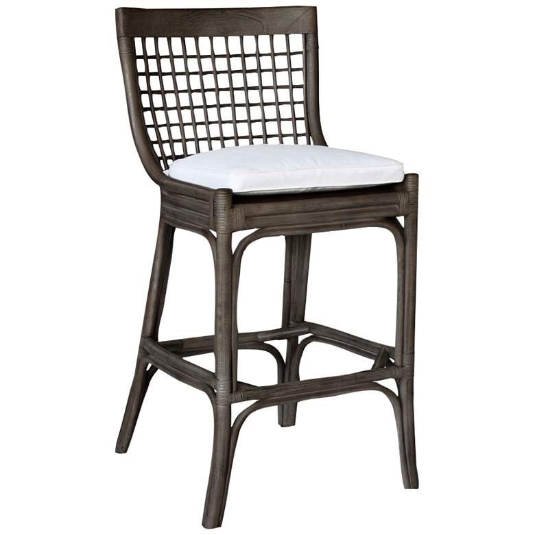 "Millbrook 32"" Kubu Gray Rattan Cushioned Bar Stool"