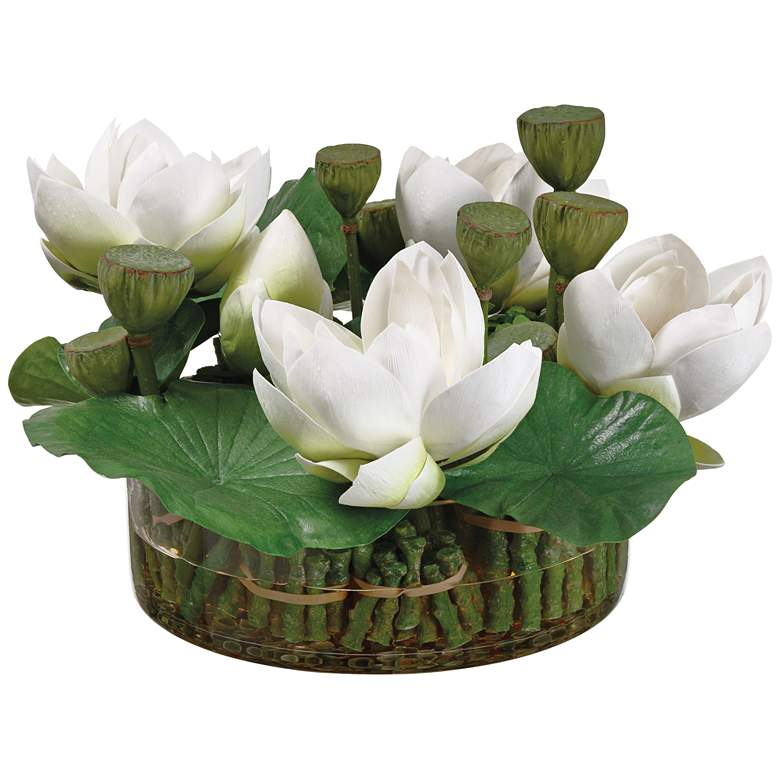 """Green White Lotus 18 1/2"""" Wide Faux Flowers in Vase"""