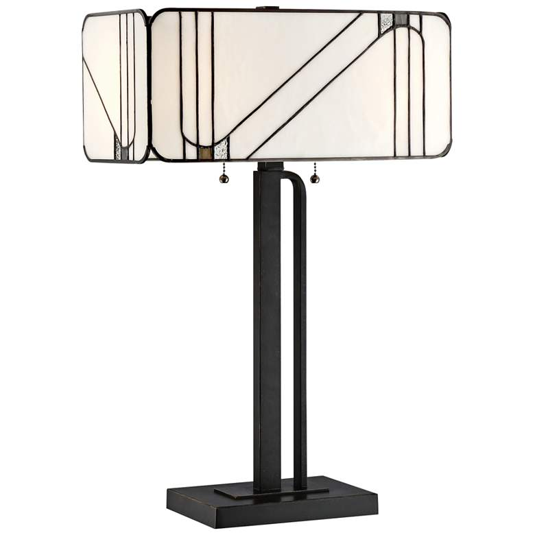 Lite Source Tulani Antique Black Tiffany Glass Table Lamp