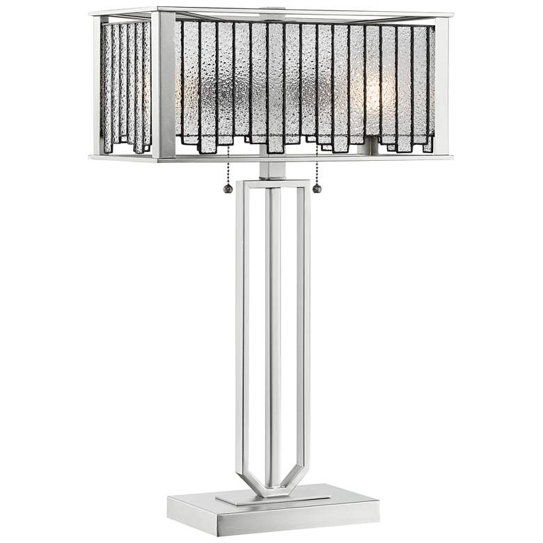 Lite Source Celine Aged Silver Tiffany-Style Table Lamp with Glass Shade