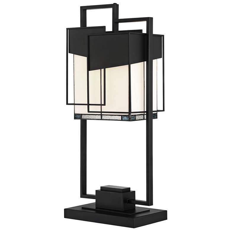 Lite Source Tellason Black Tiffany Glass Accent Table