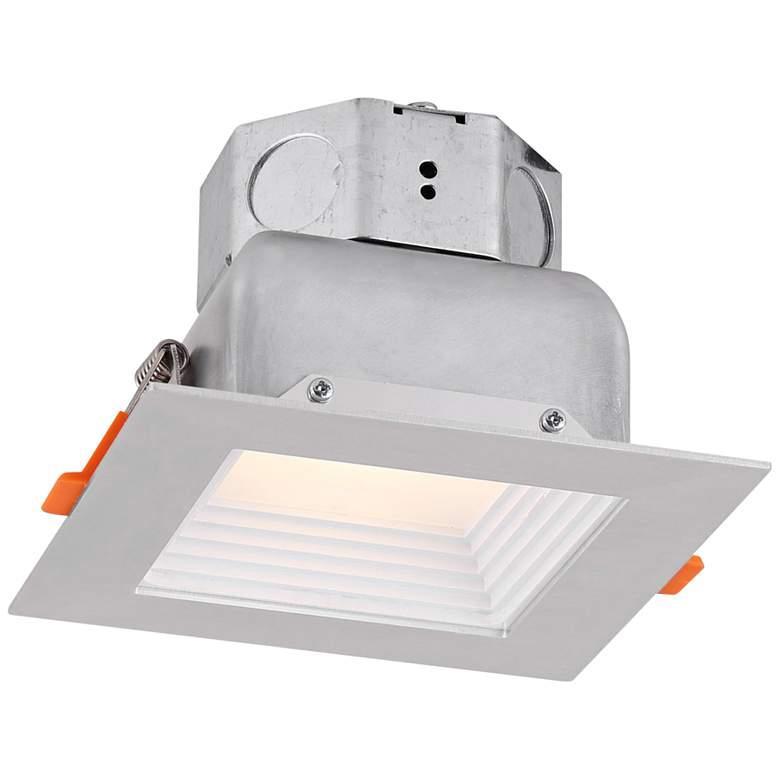 "Veloce 4"" Nickel LED Square Baffle Downlight"
