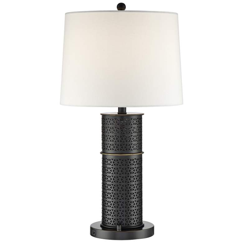 Lite Source Glanis Matte Black Metal Column Table