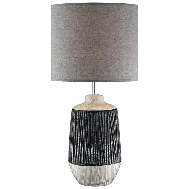 Lite Source Montana Gray Ceramic Table Lamp w/ Gray Shade