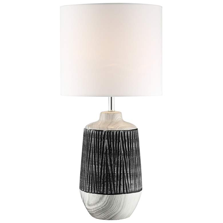 Lite Source Montana Gray Ceramic Table Lamp w/ White Shade