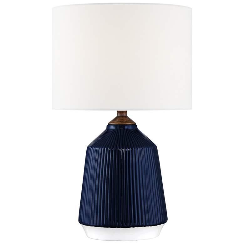 Lite Source Saratoga Blue Ceramic Striped Accent Table