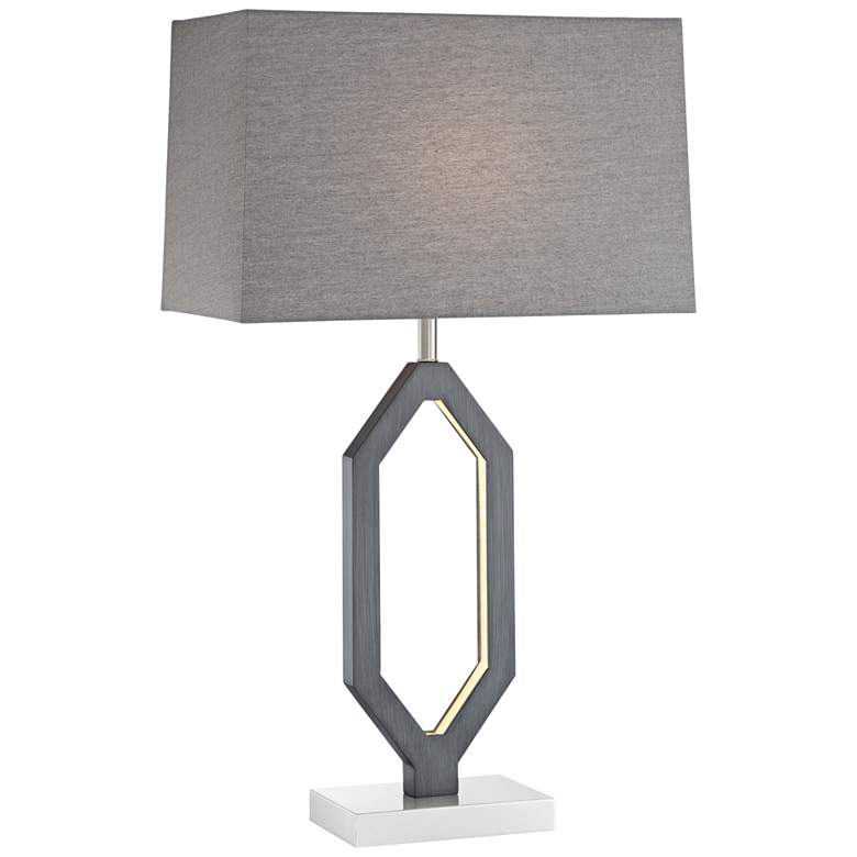 Desmond Charcoal Gray Table Lamp with LED Night