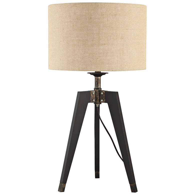 Lite Source Wellor Black Metal Tripod Table Lamp