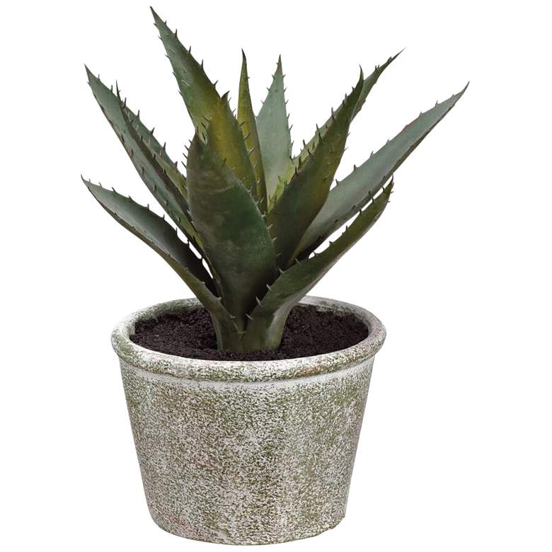 """Green Agave 8"""" High Faux Plant in Paper Mache Pot"""