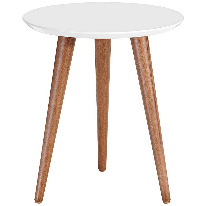 """Moore 17 1/4"""" Wide White Gloss and Wood Round End Table"""