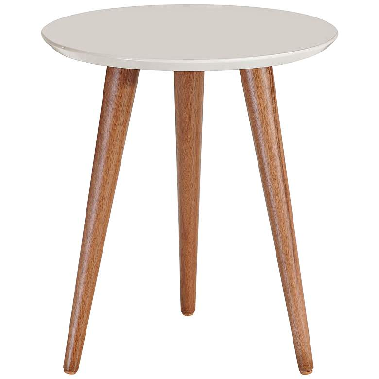 "Moore 17 1/4"" Wide Off-White and Wood Round End Table"
