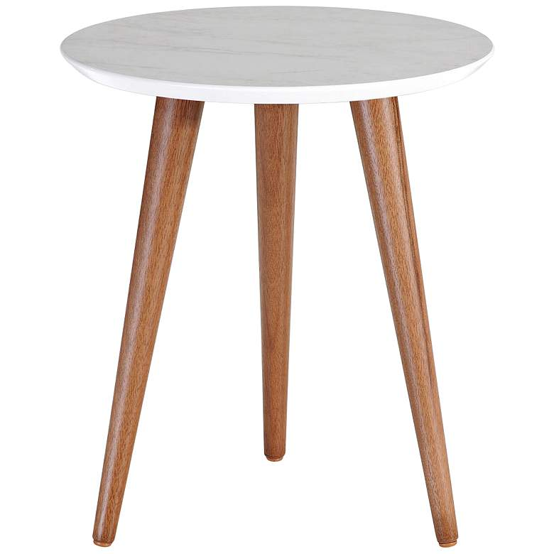 """Moore 17 1/4""""W Gray Marble Gloss and Wood Round End Table"""