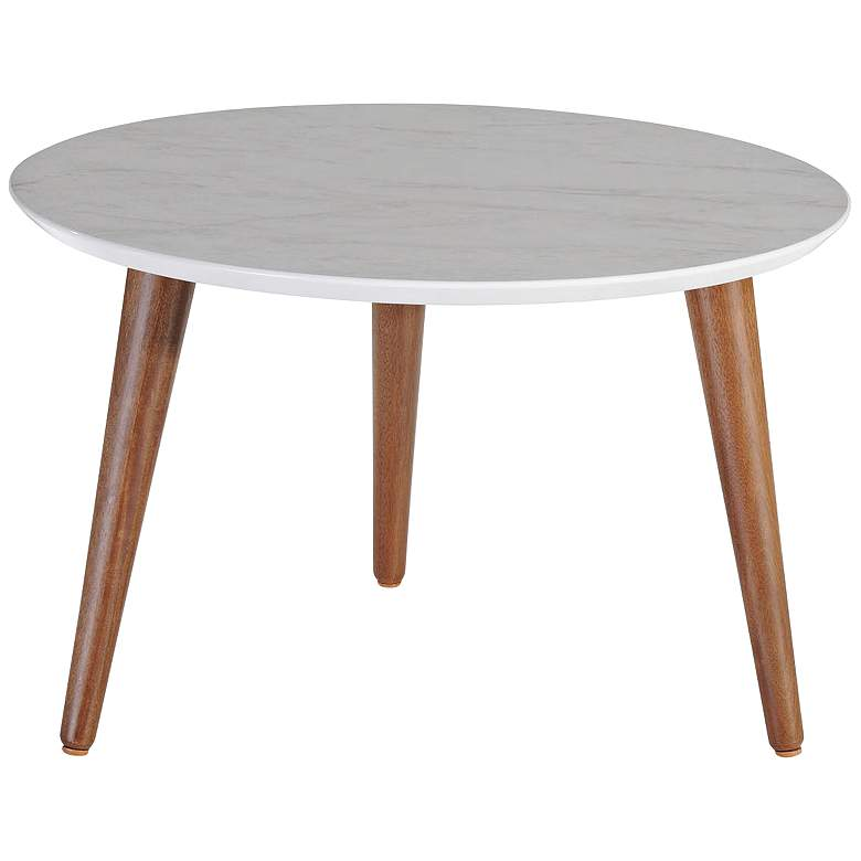 """Moore 23 1/2""""W Gray Marble Gloss and Wood Round Coffee Table"""