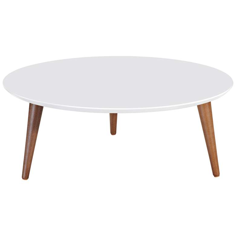 "Moore 31 1/2"" Wide White Gloss and Wood Round Coffee Table"