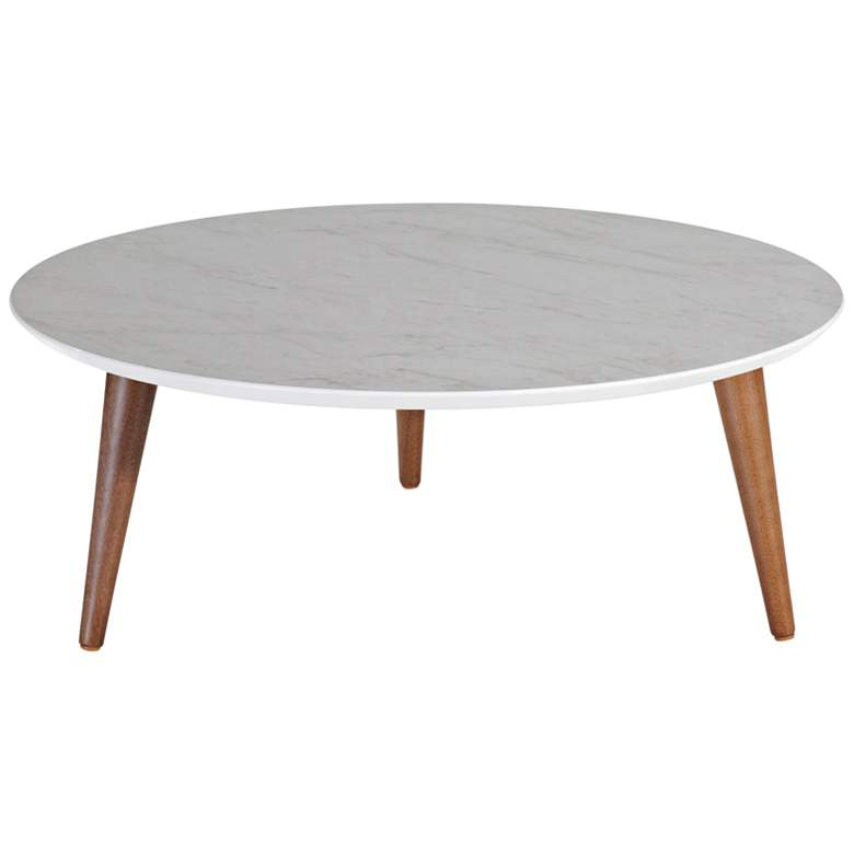 """Moore 31 1/2""""W Gray Marble Gloss and Wood Round Coffee Table"""