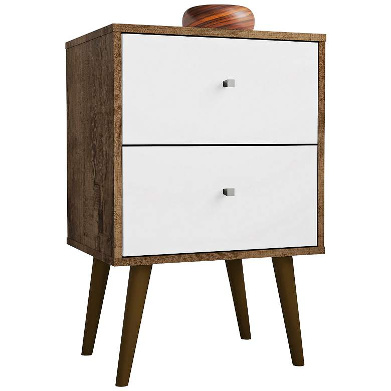 "Liberty 17 3/4""W Rustic Brown and White 2-Drawer Nightstand"