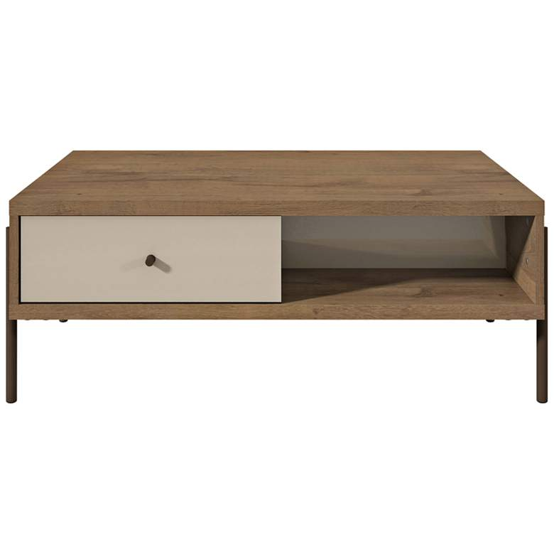 """Joy 37""""W Off-White Double-Sided 2-Drawer Wood Coffee Table"""