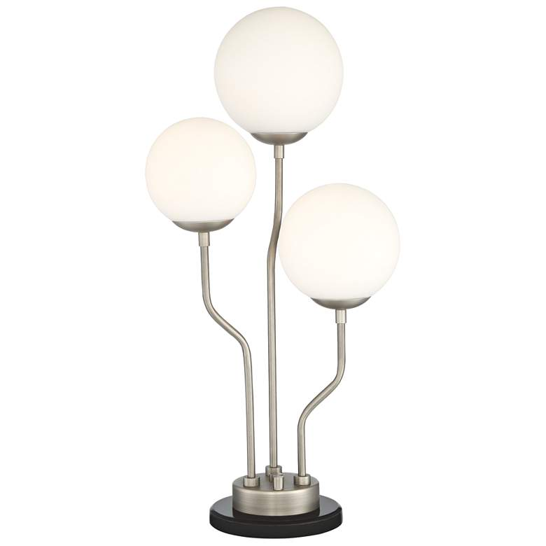 Parley Antique Nickel and White Glass 3-Light Table
