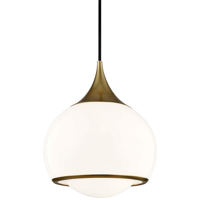 "Mitzi Reese 10"" Wide Aged Brass w/ White Glass Mini Pendant"