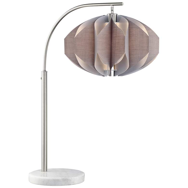 Lite Source Reina Brushed Nickel Arc Desk Lamp w/ Gray Shade