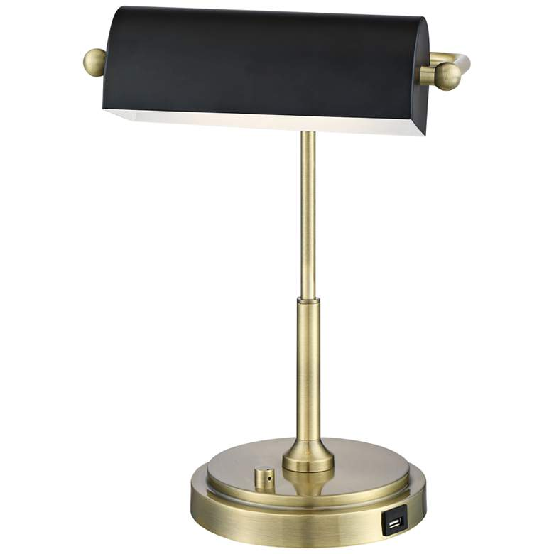 Caileb Antique Brass Banker Piano USB LED Desk Lamp