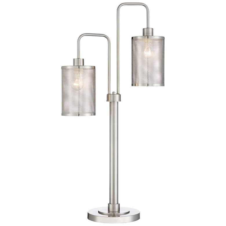 Lite Source Arison Brushed Nickel 2-Light Metal Desk Lamp