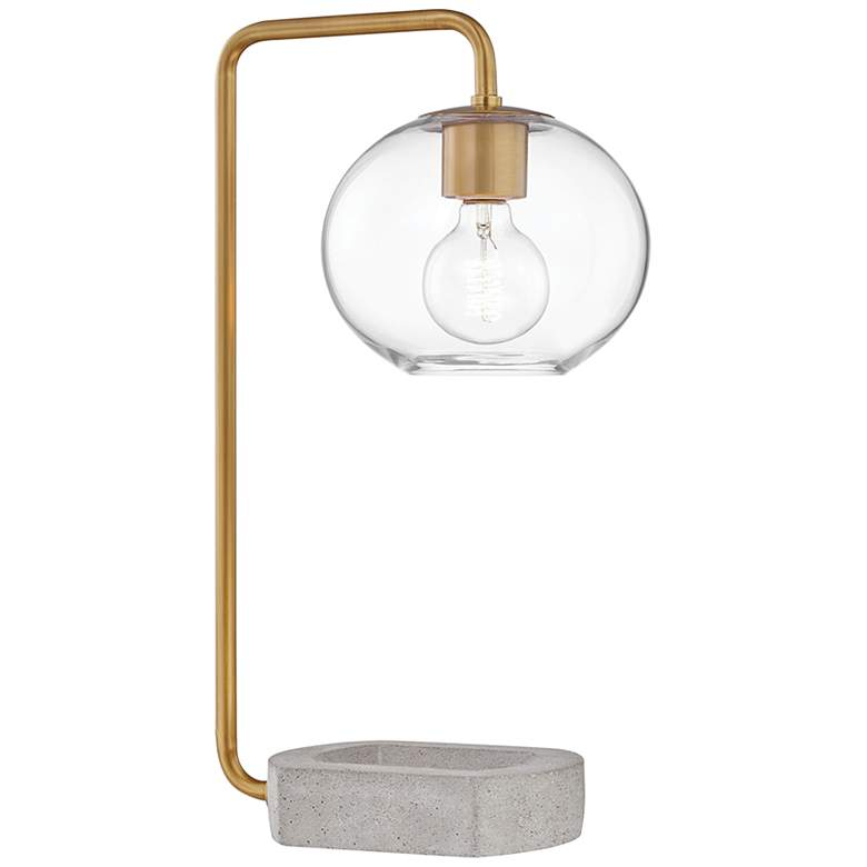 Mitzi Margot Aged Brass Accent Table Lamp with Concrete Base