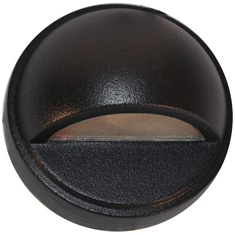 "Hockey Puck 3 3/4"" Wide Black Texture LED Surface Step Light"