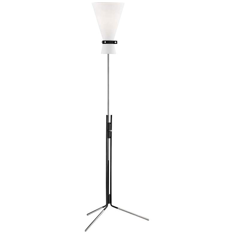 Mitzi Julia Polished Nickel and Black Torchiere Floor Lamp