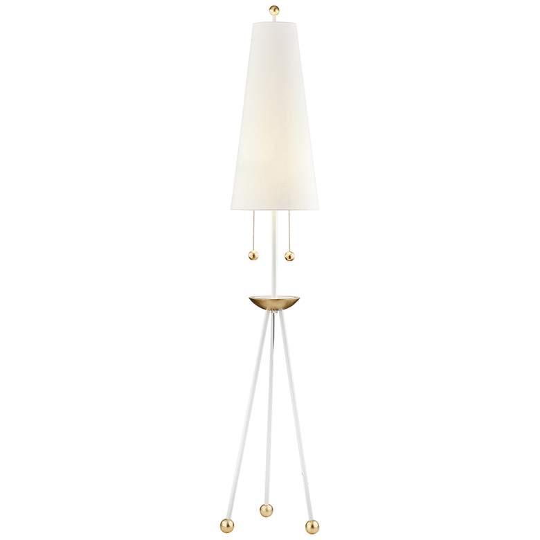 Mitzi Liza White with Gold Leaf Metal Tripod Floor Lamp