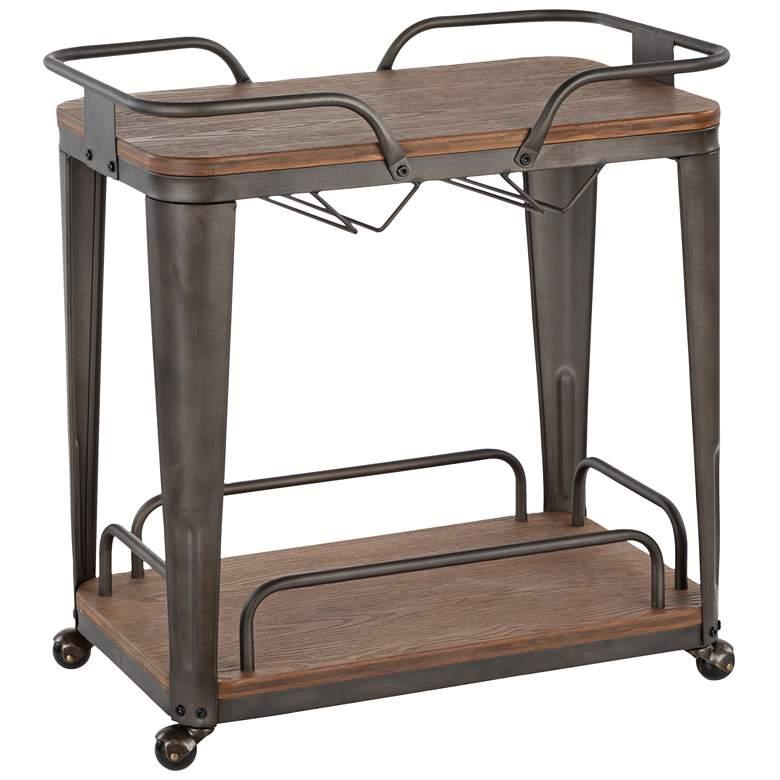 Oregon Espresso Wood and Antique Metal 2-Shelf Bar Cart