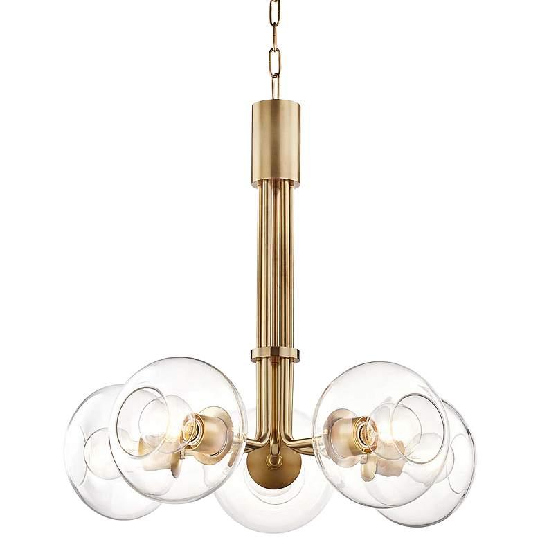 "Mitzi Margot 25"" Wide Aged Brass w/ Glass 5-Light Chandelier"