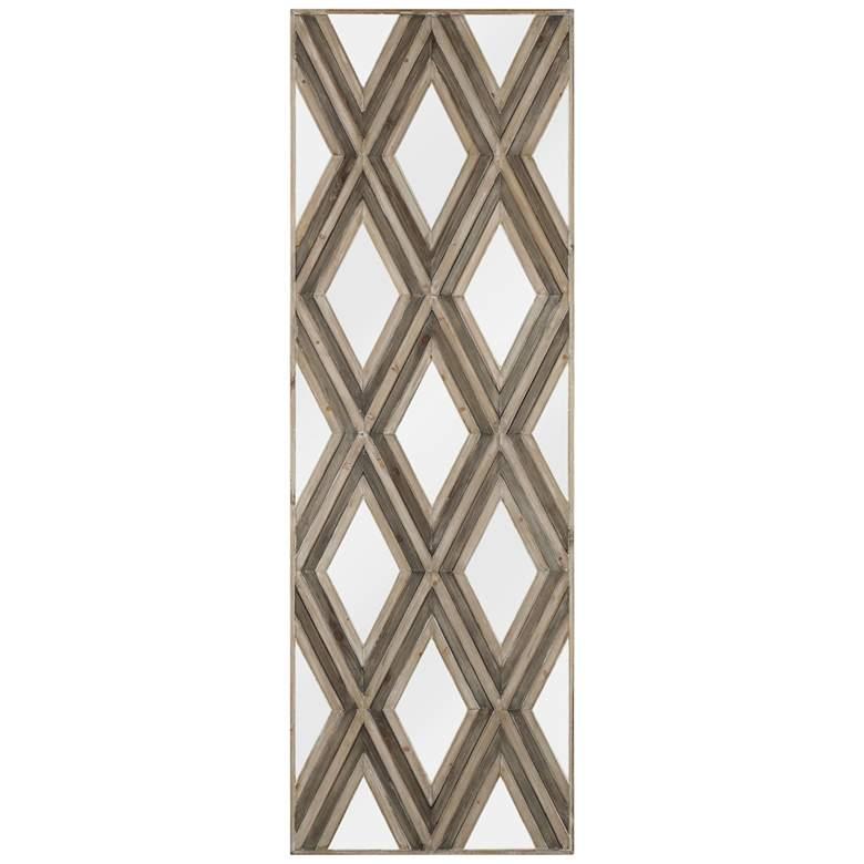 "Tahir 72"" High Geometric Argyle Pattern Mirrored Wall Art"