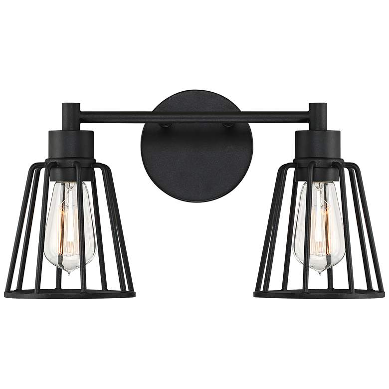"""Quoizel Atticus 8 3/4"""" High Earth Black 2-Light Wall Sconce"""