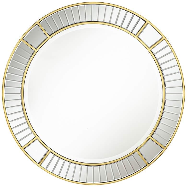 """Possini Euro Tevin 33"""" Round Gold Deco Cut Wall Mirror"""