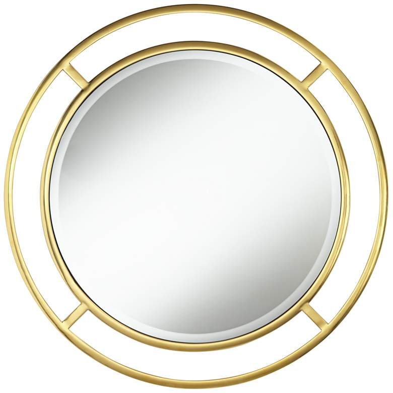 "Teegan 33"" Round Gold Openwork Wall Mirror"