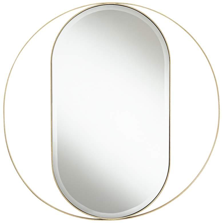 "Maisha 33"" Round Gold Frame Oval Wall Mirror"