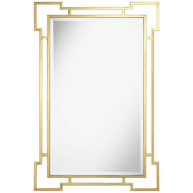 """Possini Euro Kalem 28"""" x 42"""" Gold Openwork Wall Mirror"""