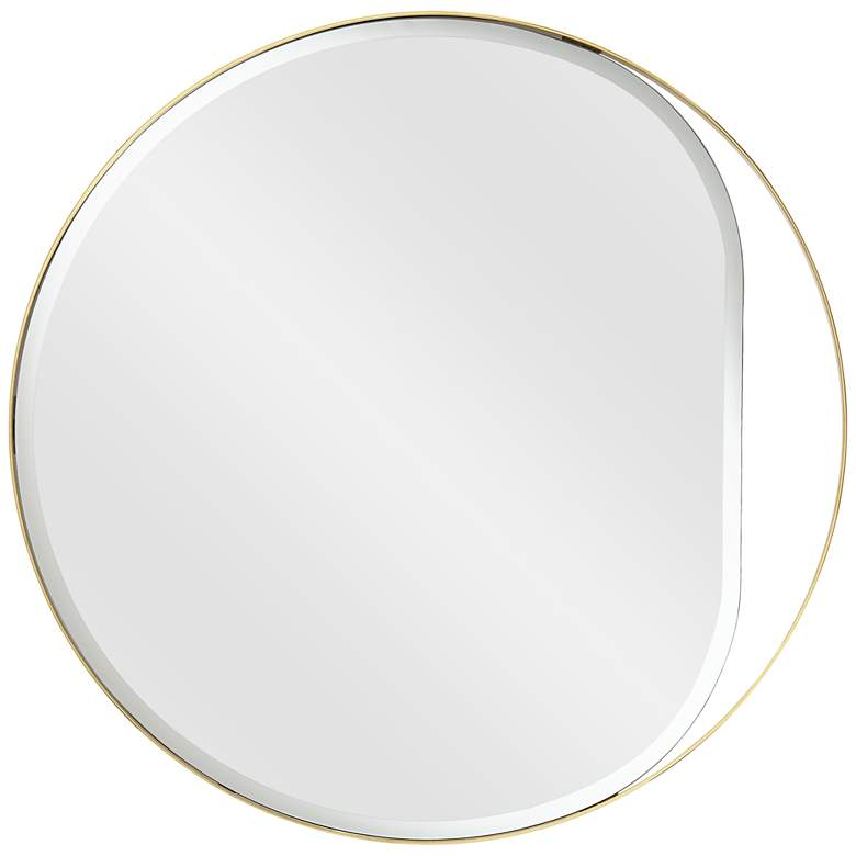 "Possin Euro Sarina 33"" Round Gold Open Bottom Wall Mirror"