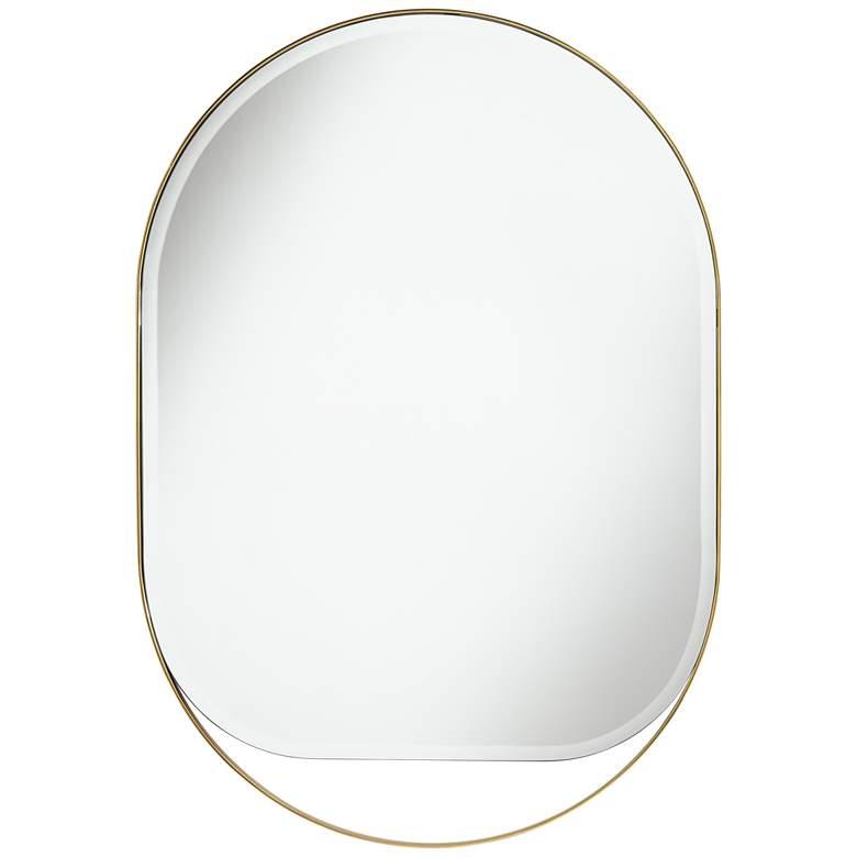"""Possini Euro Danika 28"""" x 40"""" Gold Oval Wall Mirror"""