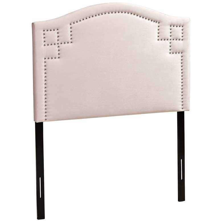 Aubrey Light Pink Velvet Fabric Upholstered Twin Headboard