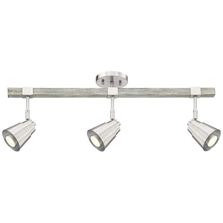 Pro Track Copalis 3-Light Nickel and Wood LED Track Fixture