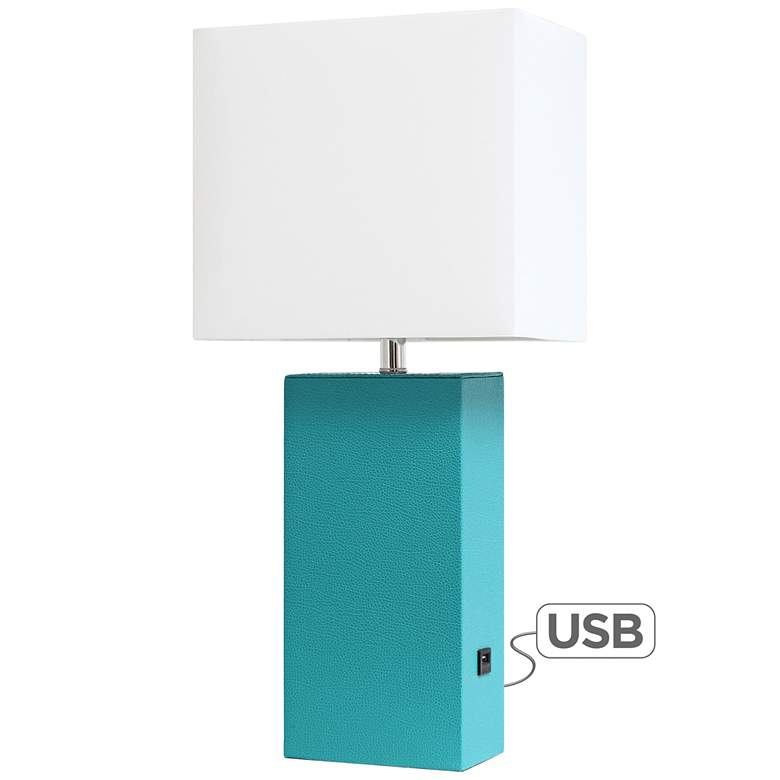 Elegant Designs Teal Leather Accent Table Lamp with USB Port