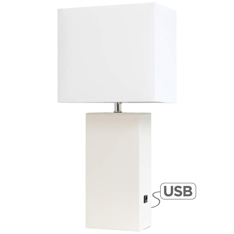 Elegant Designs White Leather Accent Table Lamp with USB Port
