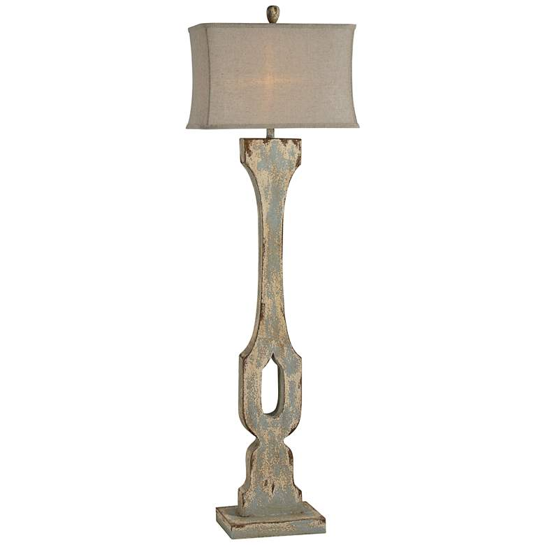Forty West Emersyn Blue-Gray Distressed Floor Lamp