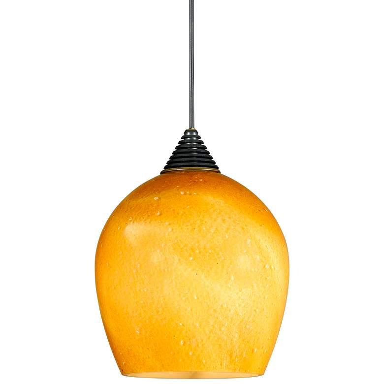 "Amber Sphere 3 1/2"" Wide Brushed Steel LED Mini Pendant"